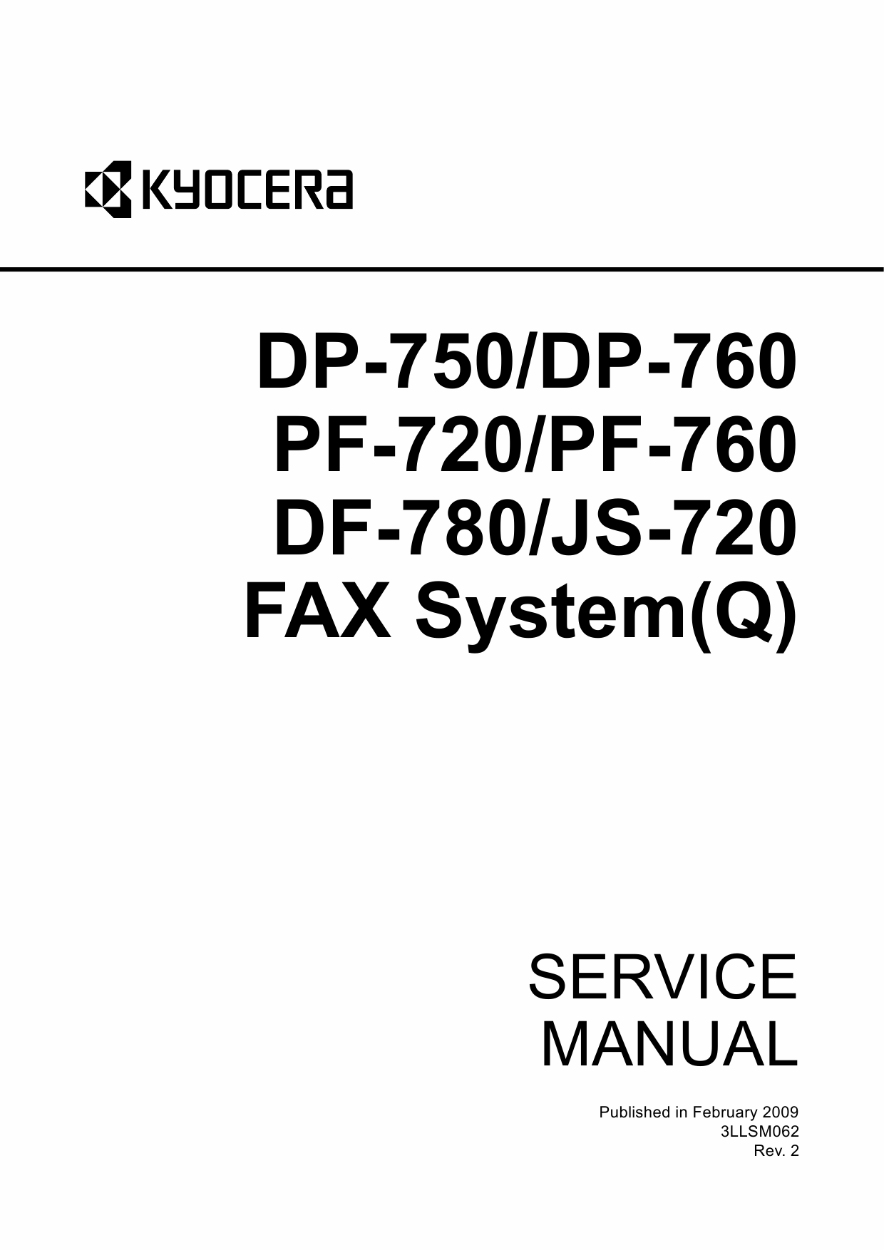 KYOCERA Options DP-750 760 PF-720 760 780 JS-720 Fax-System-Q Parts and Service Manual-1